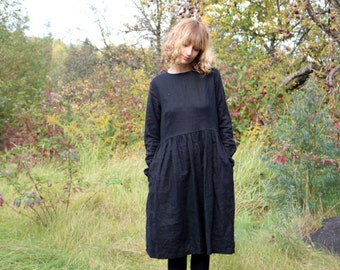 Linen Dress - Black Dress - Black Linen Dress - Long Sleeved Dress - Loose Fit Dress - High Waist Dress - Handmade by OFFON