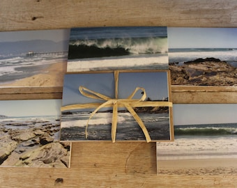 """Beautiful peaceful printed photo stationery """"Blue Ocean View"""". Set of 6 Greeting cards, Thank you notes, Invitations, Note cards."""