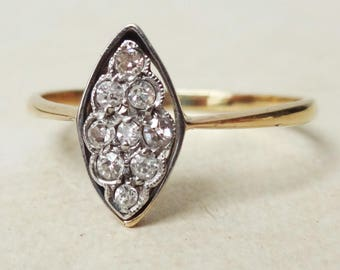 Art Deco Diamond Navette Setting Ring, Antique Diamond 18k Gold Engagement Ring Approx. Size US 8.75