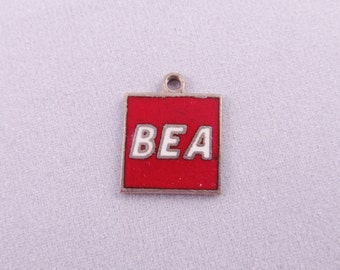 Sterling Silver BEA Red Enamel Charm - Rare