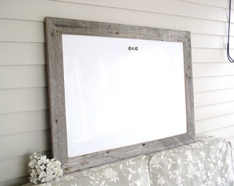 "Dry Erase Whiteboard Barnwood Frame MAGNETIC Bulletin Board LARGE Reclaimed Recycled Weathered Gray Rustic Wood 29.5 x 41.5"" Handmade Frame"