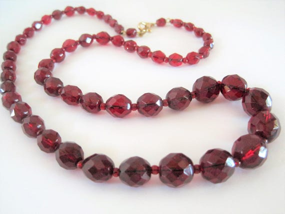 Red Crystal Necklace, Glass Faceted Beads, Single Strand Necklace