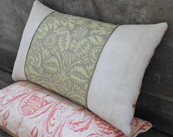 Lumbar Fortuny Pillow in Campanelle Seafoam Green and Silvery Gold, back in Mazzarino