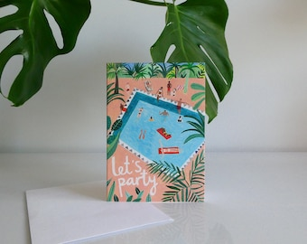 Let's Party Card | Celebration | Greetings Card | Illustration | Pool Party | Botanical |