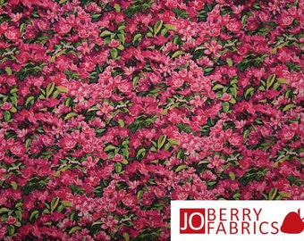 Bright Pink Floral Fabric, Pink Azaleas, Simple Pleasures by Persis Clayton Weirs for Springs Creative Products, Quilt or Craft Fabric
