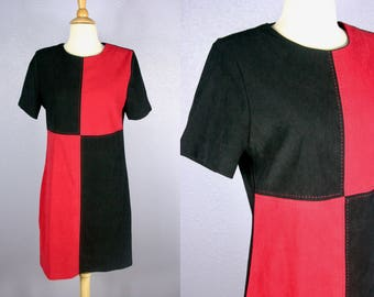 Vintage 80s Shift Dress 90s Colorblock Dress MOD Dress Go Go Dress 80s does 60s Dress Harley Quinn Costume Black Dress Red Dress Midi Dress