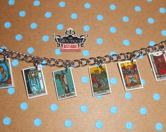 Tarot Card Major Arcana The magician, Hermit, The Fool, Tarot Charm Bracelet, Occult Jewelry