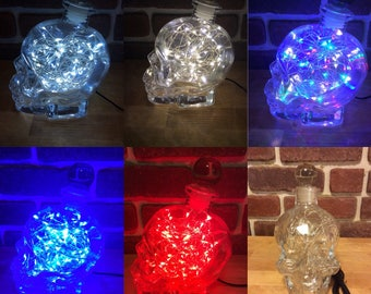 New Price!Skull Crystal Head Vodka UpCycled Bottle Glass Stopper LED String Lights, DC Power Supply, Accent Lamp, table lamp