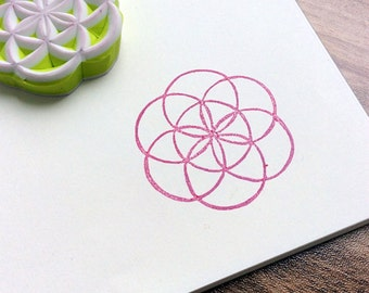 Flower of life. hand carved stamp. rubber stamp.mounted