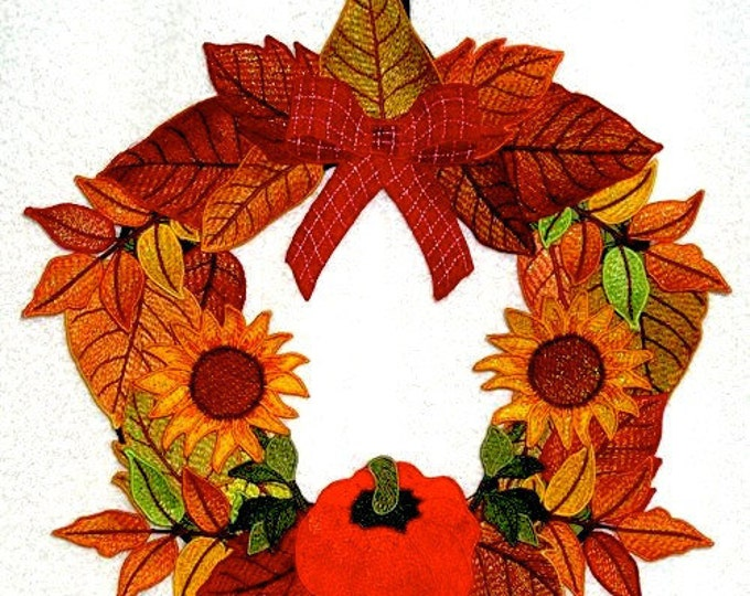 """Autumn Splendor Wreath Project  ( """"Free Standing Applique"""" Machine Embroidery Project from ATW  )"""