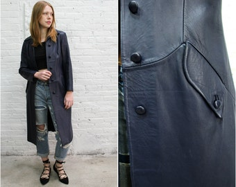 vintage navy blue leather trench coat / 50s 60s fitted coat