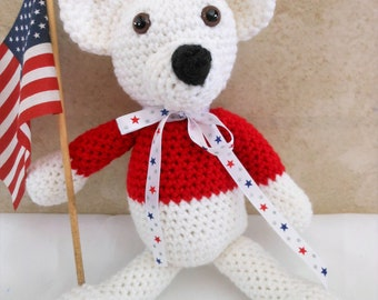 crochet polar bear, white bear with red shirt, gifts for little boys and girls, pretend play, new baby present