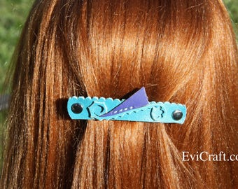 Turquoise Leather French hair barrette, Handmade Leather Hair clip, women Hair Accessory, hair fashion, leather accessory, blue leather