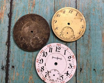Vintage Metal & Porcelain POCKET Watch Faces (3) for Steampunk and Altered Art Numbers- Watch Dials- D21