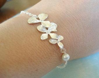 Silver Orchid Bracelet Cascading Orchid Flower Bracelet Silver Orchid Bracelet Pearl Bracelet Personalized Jewelry Personalized Bracelet