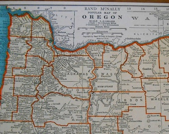 Vintage Oregon Map 1937 antique US State Map, old wall art map