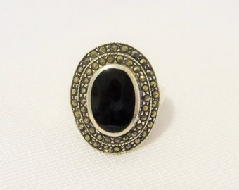 Vintage Modernist Sterling Silver Inlay Black Onyx & Marcasite Ring Size 5