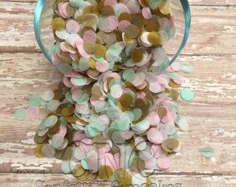 Tissue Paper Confetti, mint pink and gold circle confetti, party decor, table sprinkle, party confetti, 1st birthday decor, wedding confetti