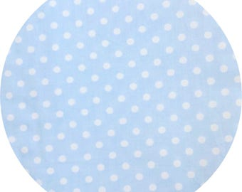 Light blue fabric with polka dots cotton Poplin
