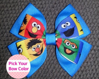 Sesame Street Elmo Cookie Monster Oscar Handmade Basic Bow