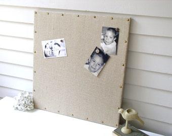 BURLAP Bulletin Board - Shabby Chic MAGNETIC Organization Memo Board 23 x 23 with Brass Upholstery Nail Head Tacks