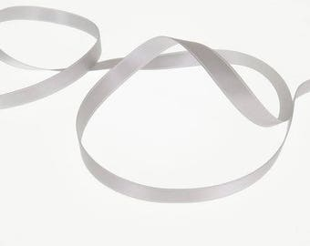 Silver satin ribbon double sided 10 mm