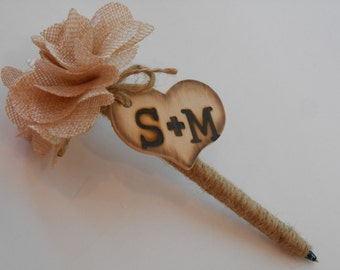 Guest Book Wedding Pen / Flower Pen / Burlap Wedding Pen / Rustic Wedding Pen / Initialed Flower Pen / Bridal Shower Pen / Sign In Pen
