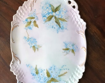 Antique China Platter w/ Blue Flowers