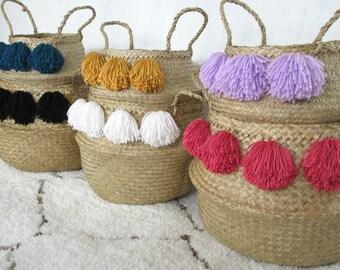 Pom Pom Rice Baskets / Belly Baskets Seagrass Foldable Storage Basket Hand Woven Vietnam Tassels Silk Bamboo Pompom Asian Natural Home Decor