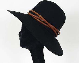 SALE 1960's Vintage Leather Rope Black Wide Brim Designer Hat by Bob Greene for Irene of New York