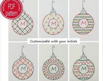 Embroidery Pattern, Christmas Ornaments, Monogram, Printable Pattern, PDF Download, Hand Embroidery, DIY Hoop Art, DIY Teachers Gift