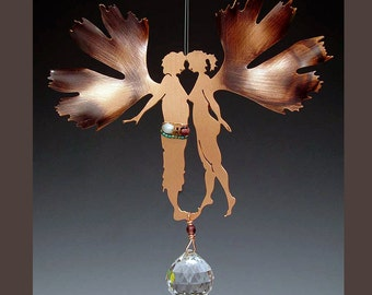 SALE - 10% OFF - Valentine Gift - Sun Catcher with Crystal Rainbow Prism - Gingko Biloba Couple
