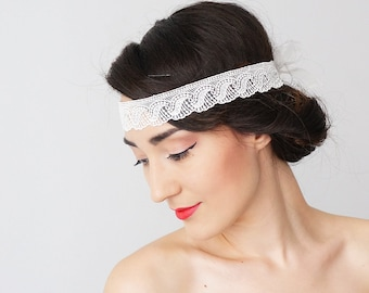 Bridal Headband Bridal Headpiece Lace Headband Retro Headband Wedding Accessories Bridal Accessories Lace Headpiece Inspirational/ LAGGIO