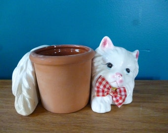 Vintage White Persian Cat With Pot Planter