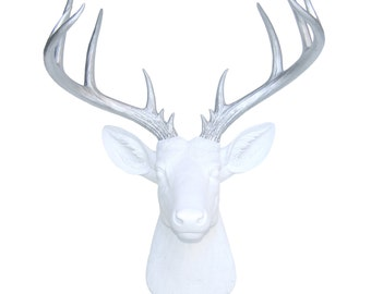 Large Deer Head Sculpture – By Near and Deer Faux Taxidermy - White and Silver Stag Wall Mount – Unique Modern Home Decorating accent–ND0110