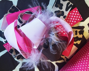 "Giraffe Feather Pink hot pink polka dots Big Hair Bow Grossgrain Loopy Boutique Handmade girls 5"" 24M 2T 3 t 4 t 5 6 7 8 10 12"