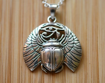 Sterling silver scarab necklace, eye of horus necklace, egyptian, ra, beetle, wadjet, ancient amulet, protection, symbolic - untouchable