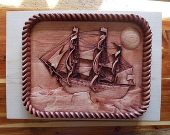 Nautical Decor, Sail Boat Wood Carving, Vintage Victory Ocean Sail Ship, Nautical Wood Wall Art Decor, Wood Decor Nautical Vintage Sail Boat
