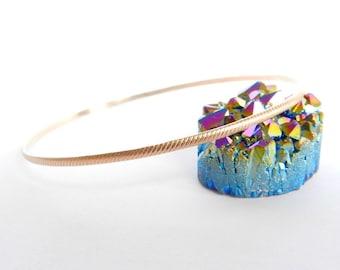 Rose Gold Bangle Ridge Bracelet