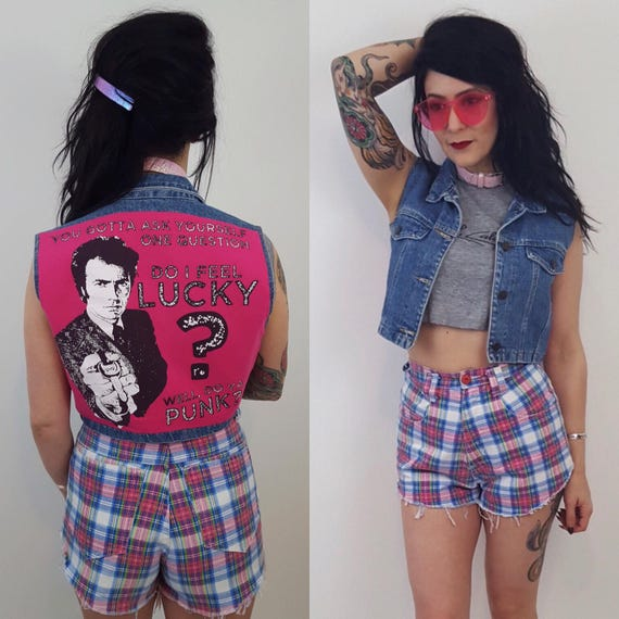 Remade Vintage Denim Vest - One Of A Kind Jean Vest with Back Patch - Womens Backpatch Cropped Denim Vest - Dirty Harry Clint Eastwood