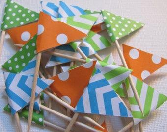 Flag Food Picks, Flag Cupcake toppers, Set of 24,