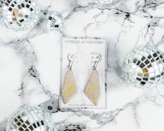 Concrete Greige Geo Dangle Enamelled Earrings with Gold Flecks