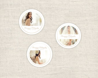 Minimal Sticker Templates for Photographers, Wedding Photography Templates, 3x3 Round Sticker Designs Photoshop Templates - INSTANT DOWNLOAD