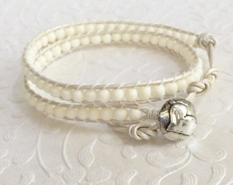 White Bone, White Pearl Leather Double Wrap Boho Bracelet | Artisan Sterling Silver Heart Design Button | Luxury White Elegance | Handmade