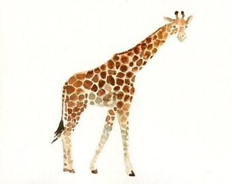 GIRAFFE - 7x5inch Print-Children's Decor-Art for Children-kids wall art-Nursery art -Animal lover-african animal