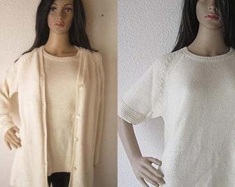 Vintage 80s twinset cardigan & Sweater Cotton oversize