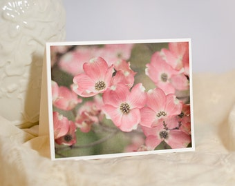 Photo Notecard - Floral Photography - Nature Photo Note Card - Pink Flowers - Dogwood Tree - Birthday Card for Her - Blank or Custom Card