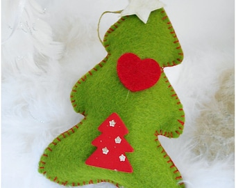 Décoration de Noël, sapin feutrine verte à suspendre, décoration noël fait main,  décoration sapin, décor de noel feutrine