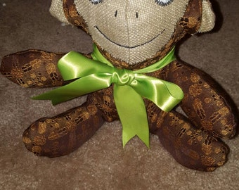 """10"""" stuffed monkey upcycled one of a kind will not get another  like it"""