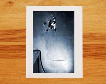 Tony Hawk Ollie to Fakie Skateboarding Photograph - Photo Print
